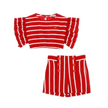 Picture of Monnalisa Girls Red Stripe Short Set