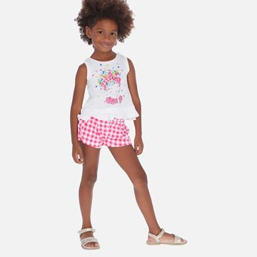 Picture of Mayoral Girls Pink Checked Short Set