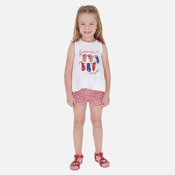 Picture of Mayoral Girls Red Stripe Shorts Set