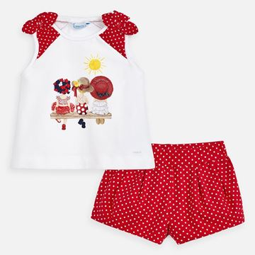 Picture of Mayoral Girls Red Spotty Short Set