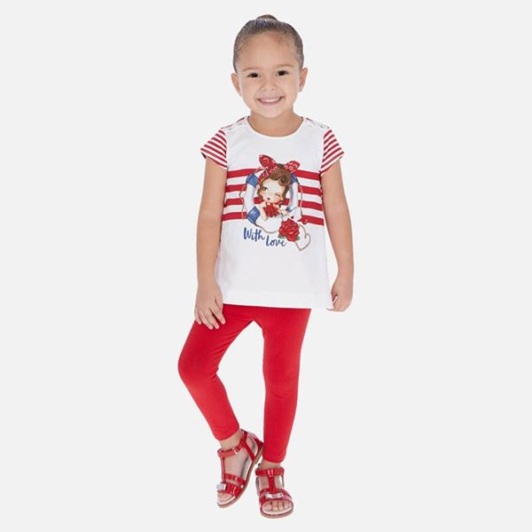 Picture of Mayoral Girls Red Stripe Leggings Set