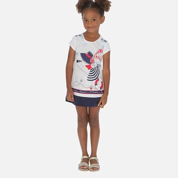 Picture of Mayoral Girls Navy Printed Dress