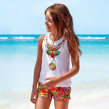 Picture of Mayoral Girls Orange Flower Print Short Set