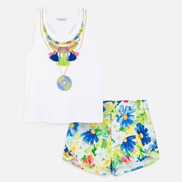 Picture of Mayoral Girls Green Flower Print Shorts Set