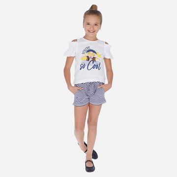 Picture of Mayoral Girls Blue Striped Short Set