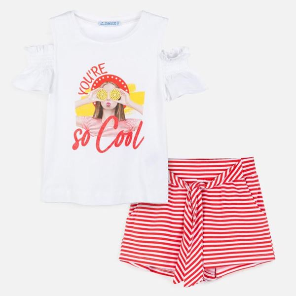 Picture of Mayoral Girls PInk Striped Shorts Set