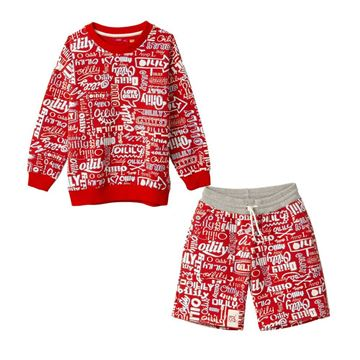 Picture of Oilily Boys Red Printed Jumper & Shorts