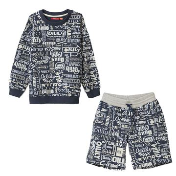 Picture of Oilily Boys Navy Printed Jumper & Shorts