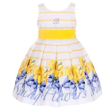 Picture of Balloon Chic Girls Yellow Print Dress