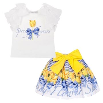 Picture of Balloon Chic Girls Yellow Top & Skirt Set