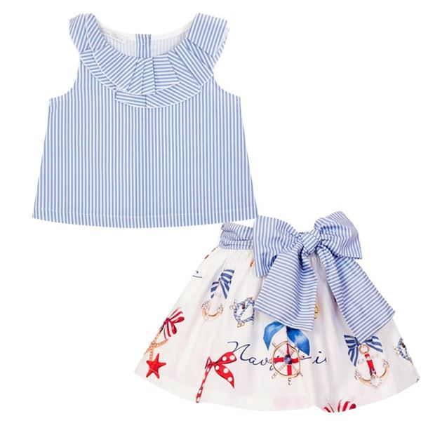 Picture of Balloon Chic Girls White Print Skirt & Top Set