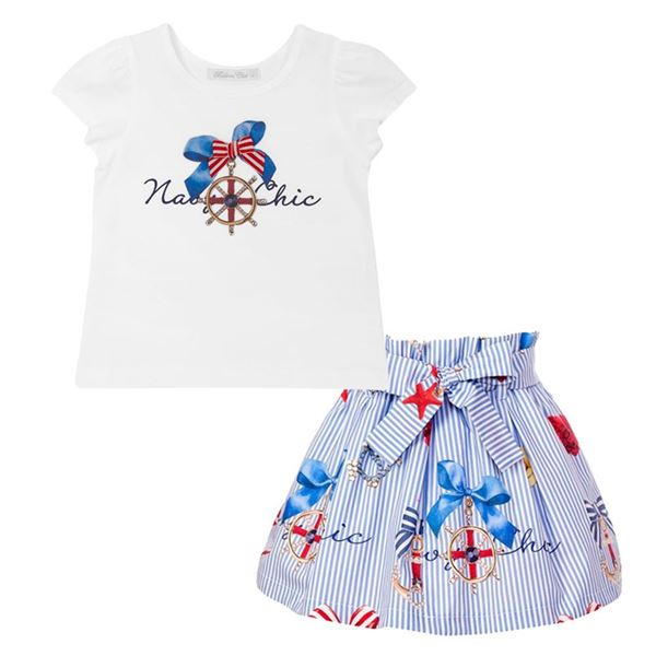 Picture of Balloon Chic Girls Blue Print Skirt & Top Set