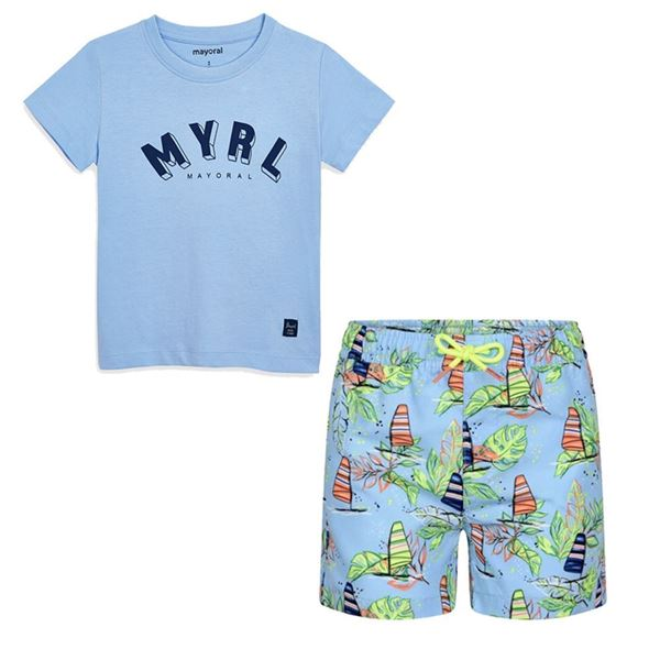 Picture of Mayoral Boys Pale Blue Swim Short Set