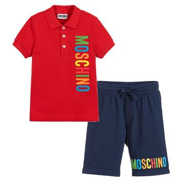 Picture of Moschino Boys Red Polo Short Set