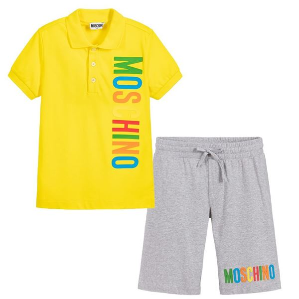 Picture of Moschino Boys Yellow Polo Short Set