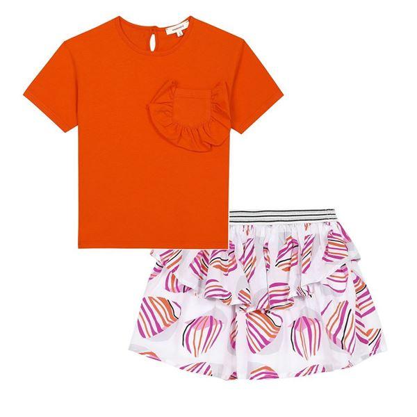 Picture of Catimini Girls Orange Top & Printed Skirt