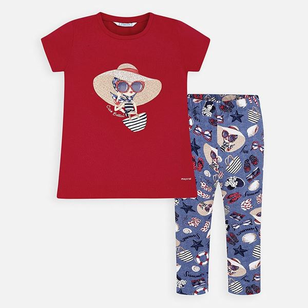 Picture of Mayoral Girls Red & Blue Leggings Set