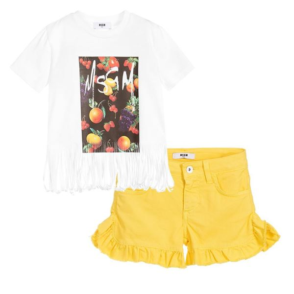 Picture of MSGM Girls Yellow T-Shirt & Shorts Set