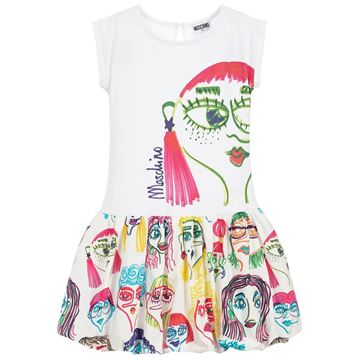 Picture of Moschino Girls White Printed Dress