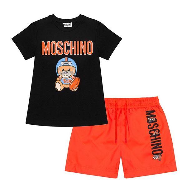 Picture of Moschino Boys Black & Orange Swim-short Set