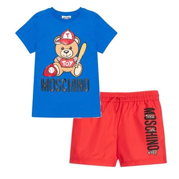 Picture of Moschino Boys Red & Blue Swim-short Set