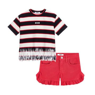 Picture of MSGM Girls Red & Navy T-Shirt & Shorts Set
