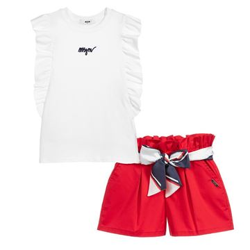 Picture of MSGM Girls White & Red Short Set