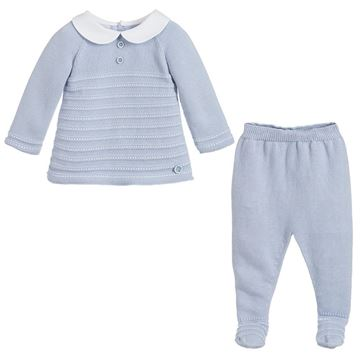 Picture of Paz Rodriguez Boys Blue Knitted 2 Piece Set