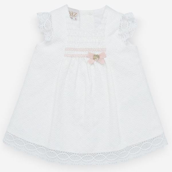 Picture of Paz Rodriguez Girls White Dress with Pink Detail