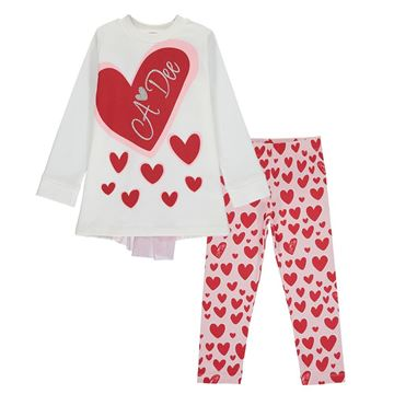 Picture of Ariana Dee Girls 'Evie' White Heart Leggings Set