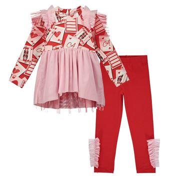 Picture of Ariana Dee Girls 'Evangeline' Red Tule Leggings Set
