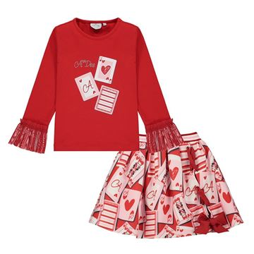 Picture of Ariana Dee Girls Red Queen of Hearts Top & Skirt Set