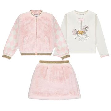 Picture of Ariana Dee Girls Pink 3 Piece Skirt Set