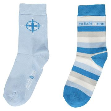 Picture of Mitch & Son Boys 'Cole' Pack of 2 Blue Socks