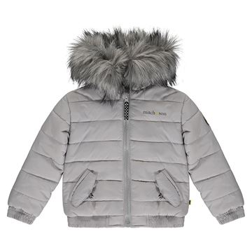 Picture of Mitch & Son Boys 'Micah' Grey Coat with Faux Fur Hood