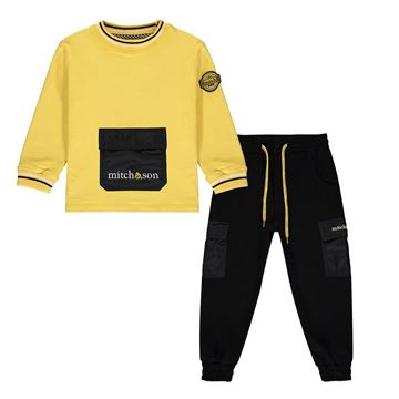 Picture of Mitch & Son Boys Yellow & Black 2 Piece Tracksuit