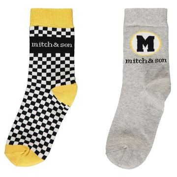 Picture of Mitch & Son Boys 'Weston' Grey/ Yellow Pack of 2 Socks