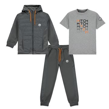 Picture of Mitch Boys 'Jace' Grey 3 Piece Tracksuit