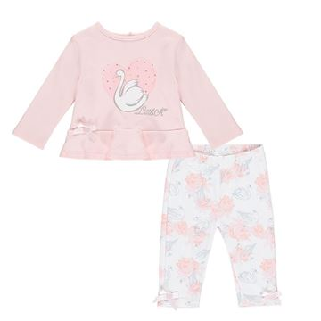 Picture of Little A 'Imogen' Baby Pink Swan Leggings Set