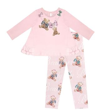 Picture of Balloon Chic Girls Pink Teddy Leggings Set