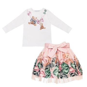 Picture of Balloon Chic Girls Pink Teddy Skirt Set