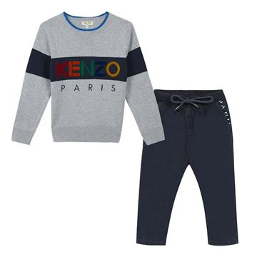 Picture of Kenzo Boys Grey Knitted Jumper with Navy Pants