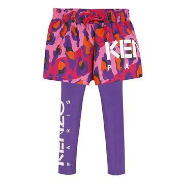 Picture of Kenzo Girls Pink & Purple Printed Shorts & Leggings