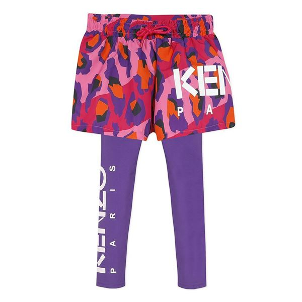 Picture of Kenzo Girls Pink & Purple Printed Shorts & Leggings