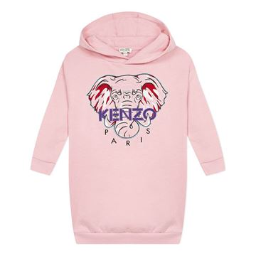 Picture of Kenzo Girls Pink Elephant Hooded Jumper Dress