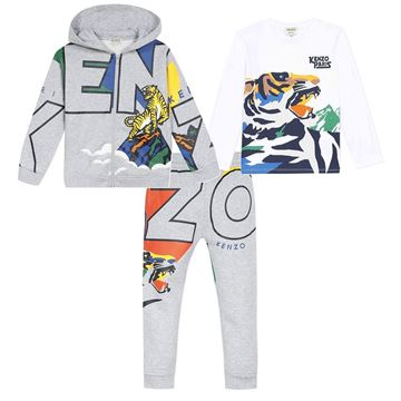 Picture of Kenzo Boys Grey Printed  3 Piece Tracksuit