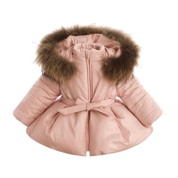 Picture of Bufi Girls Pink Coat with Fur Trim Hood