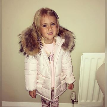 Picture of Bimbalo Girls Pink Coat with Fur Hood Trim