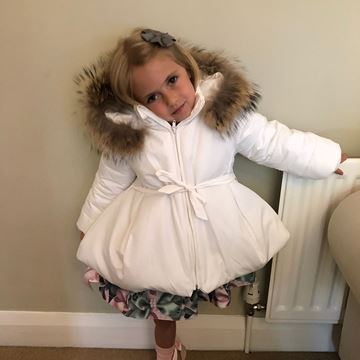 Picture of Bufi Girls Cream Coat with Fur Hood Trim