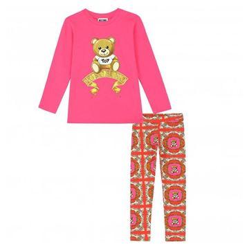 Picture of Moschino Girls Fuschia Pink Teddy Leggings Set